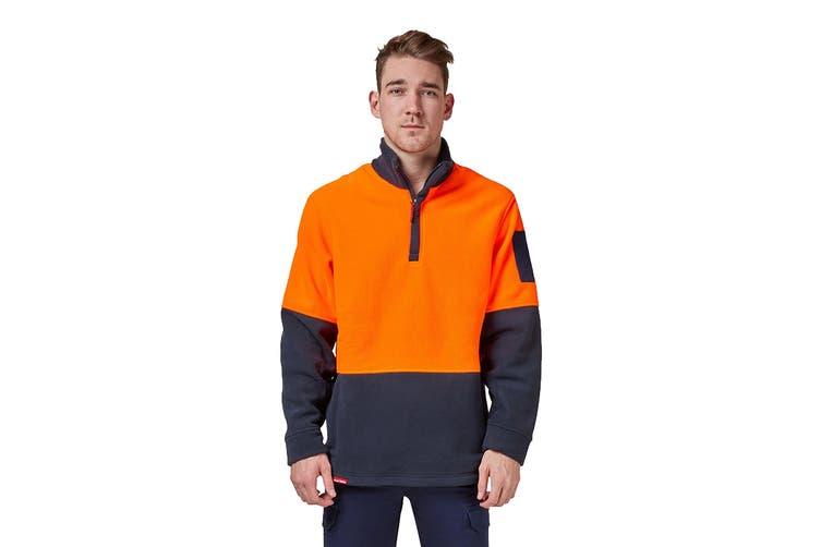 Hard Yakka Hi Vis Two Tone Polar Fleece 1/4 Zip Jumper (Orange/Navy, Size L)