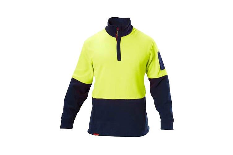 Hard Yakka Hi Vis Two Tone Polar Fleece 1/4 Zip Jumper (Yellow/Navy, Size 2XL)