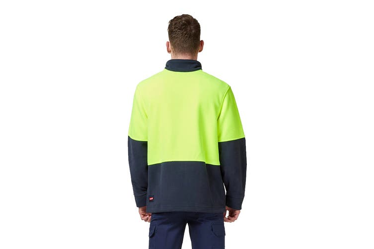 Hard Yakka Hi Vis Two Tone Polar Fleece 1/4 Zip Jumper (Yellow/Navy, Size 4XL)