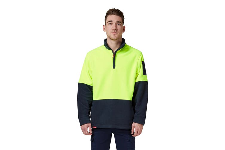 Hard Yakka Hi Vis Two Tone Polar Fleece 1/4 Zip Jumper (Yellow/Navy, Size 5XL)