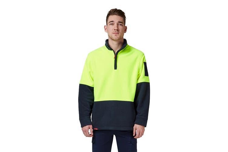 Hard Yakka Hi Vis Two Tone Polar Fleece 1/4 Zip Jumper (Yellow/Navy, Size 6XL)