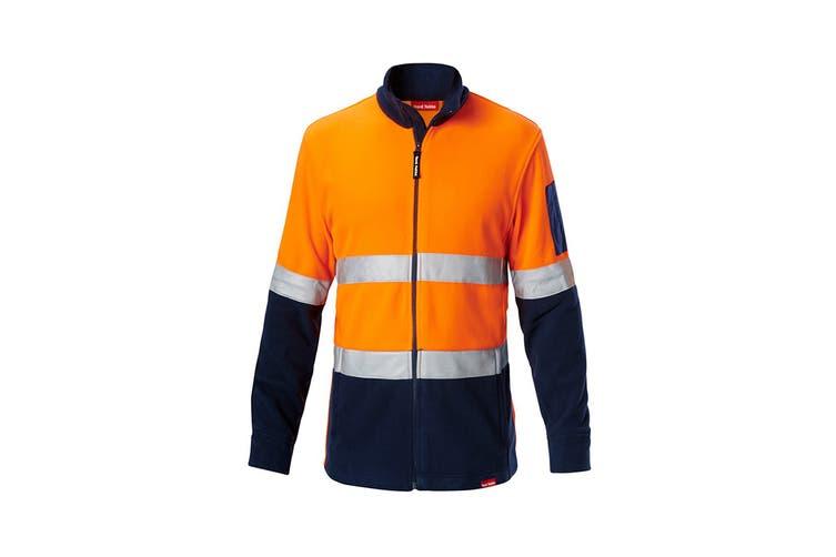 Hard Yakka Men's Hi Vis Polar Fleece Jumper With Tape (Orange/Navy, Size 2XL)