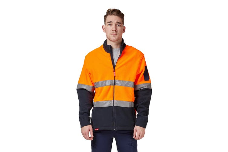 Hard Yakka Men's Hi Vis Polar Fleece Jumper With Tape (Orange/Navy, Size 6XL)