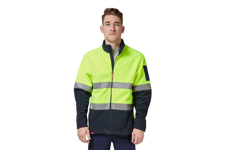 Hard Yakka Men's Hi Vis Polar Fleece Jumper With Tape (Yellow/Navy, Size XL)