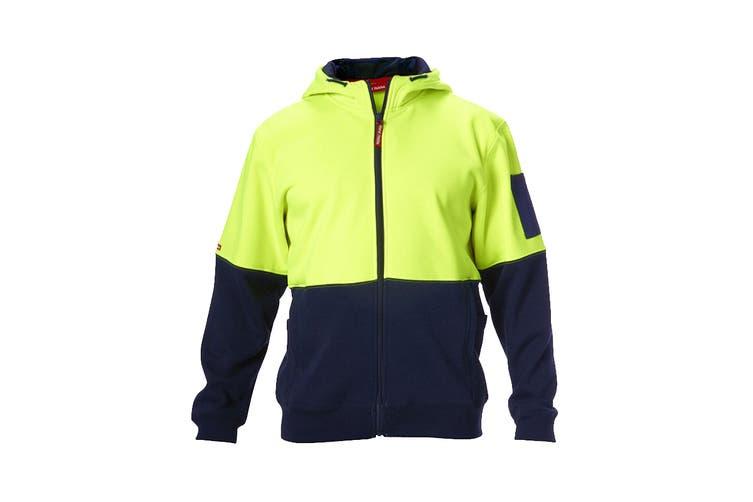 Hard Yakka Hi Vis Two-Tone Brushed Fleece Full Zip Hoodie (Yellow/Navy, Size L)
