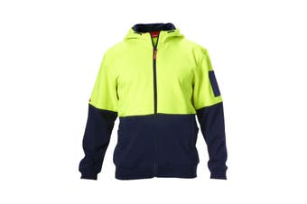 Hard Yakka Hi Vis Two-Tone Brushed Fleece Full Zip Hoodie (Yellow/Navy)
