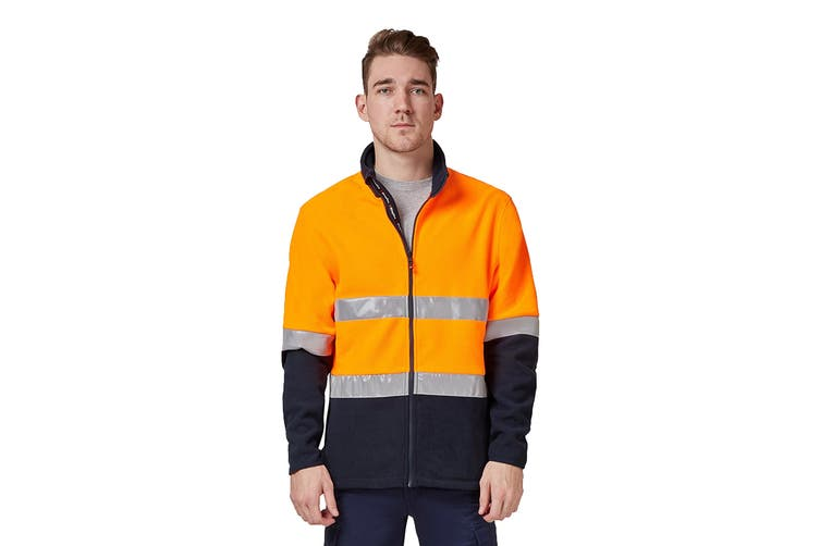 King Gee Reflective Full Zip Spliced Hi Vis Fleece (Orange/Navy, Size 2XL)