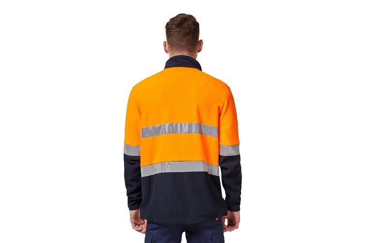 King Gee Reflective Full Zip Spliced Hi Vis Fleece (Orange/Navy, Size 3XL)