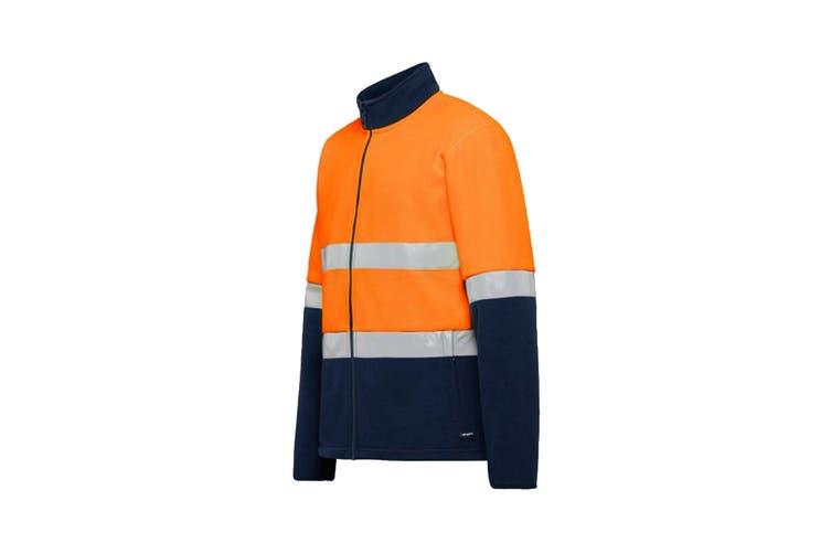 King Gee Reflective Full Zip Spliced Hi Vis Fleece (Orange/Navy, Size XL)