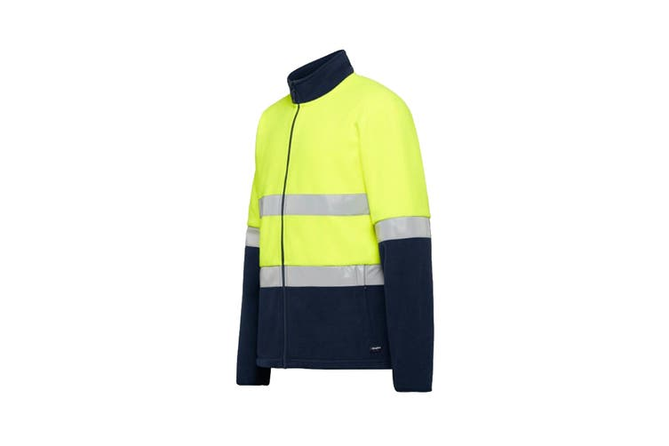 King Gee Reflective Full Zip Spliced Hi Vis Fleece (Yellow/Navy, Size 3XL)