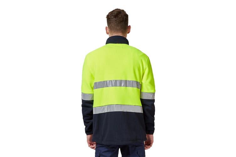 King Gee Reflective Full Zip Spliced Hi Vis Fleece (Yellow/Navy, Size L)