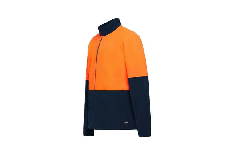 King Gee Full Zip Spliced Hi Vis Fleece (Orange/Navy, Size 3XL)