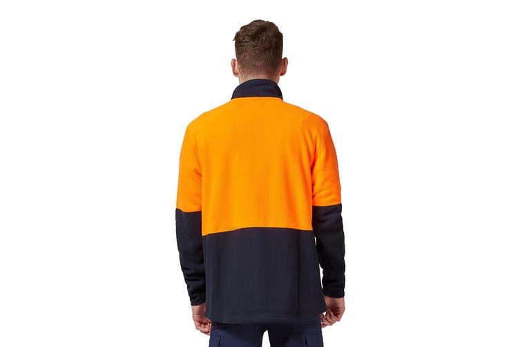 King Gee Full Zip Spliced Hi Vis Fleece (Orange/Navy, Size XL)