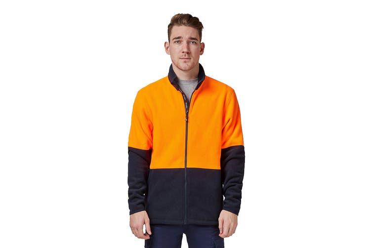 King Gee Full Zip Spliced Hi Vis Fleece (Orange/Navy, Size XS)
