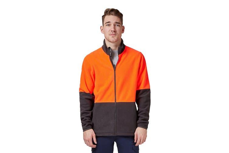 King Gee Full Zip Spliced Hi Vis Fleece (Red/Charcoal, Size 3XL)
