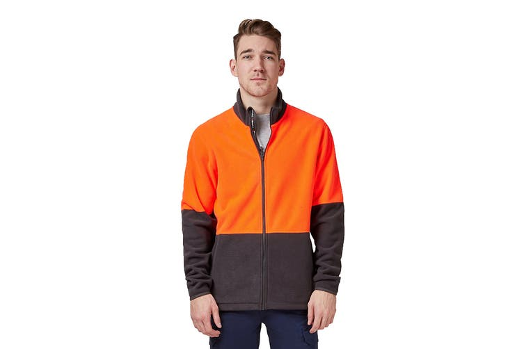 King Gee Full Zip Spliced Hi Vis Fleece (Red/Charcoal, Size 4XL)