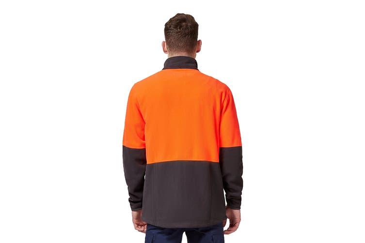 King Gee Full Zip Spliced Hi Vis Fleece (Red/Charcoal, Size L)