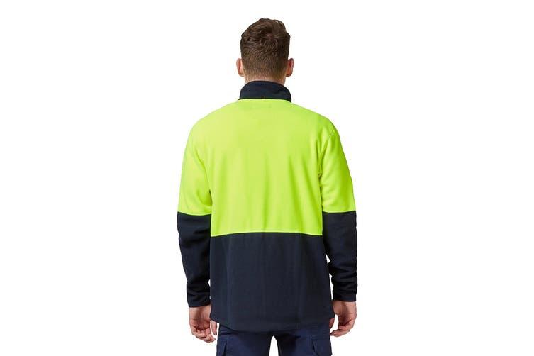 King Gee Full Zip Spliced Hi Vis Fleece (Yellow/Navy, Size L)