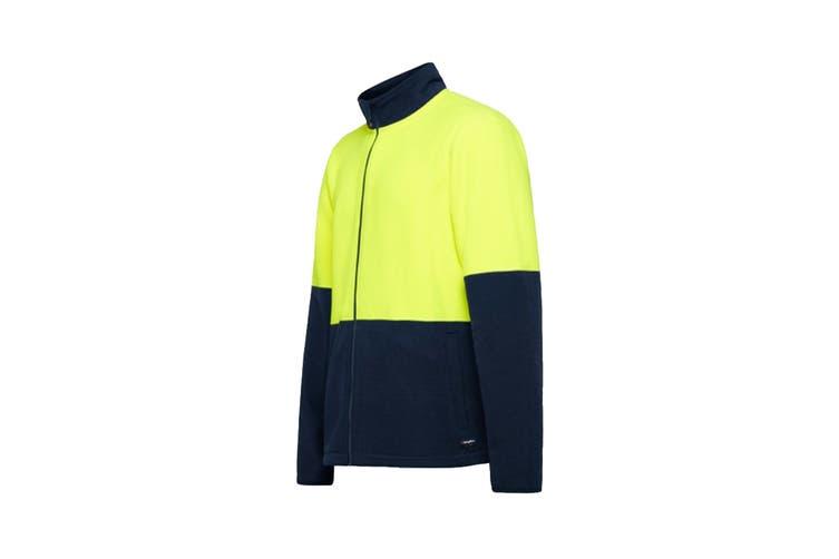 King Gee Full Zip Spliced Hi Vis Fleece (Yellow/Navy, Size M)