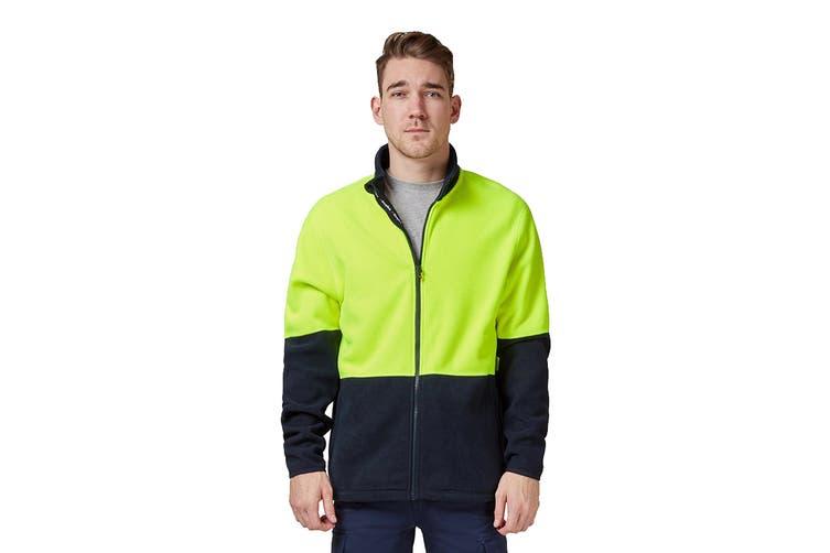 King Gee Full Zip Spliced Hi Vis Fleece (Yellow/Navy, Size XS)