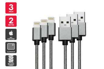 3 Pack Apple MFI Certified Braided Lightning to USB Cable (2m)