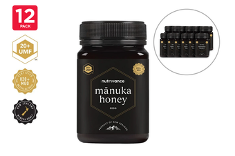 12 Pack - Manuka Honey UMF™ 20+ (500g, Nutrivance, Made In New Zealand)