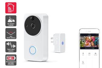 Kogan SmarterHome™ Wireless Smart Full HD 1080P Video Doorbell with Chime (White)
