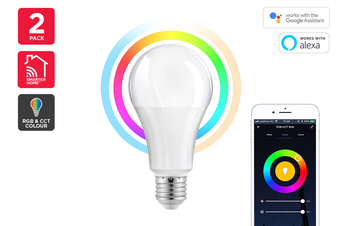 Kogan SmarterHome™10W RGB + CCT Colour & Warm/Cool White Smart Bulb (E27) - Pack of 2
