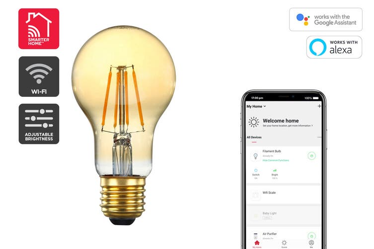 Kogan SmarterHome™ 5W Smart Dimmable LED Filament Bulb A-19 (E27)