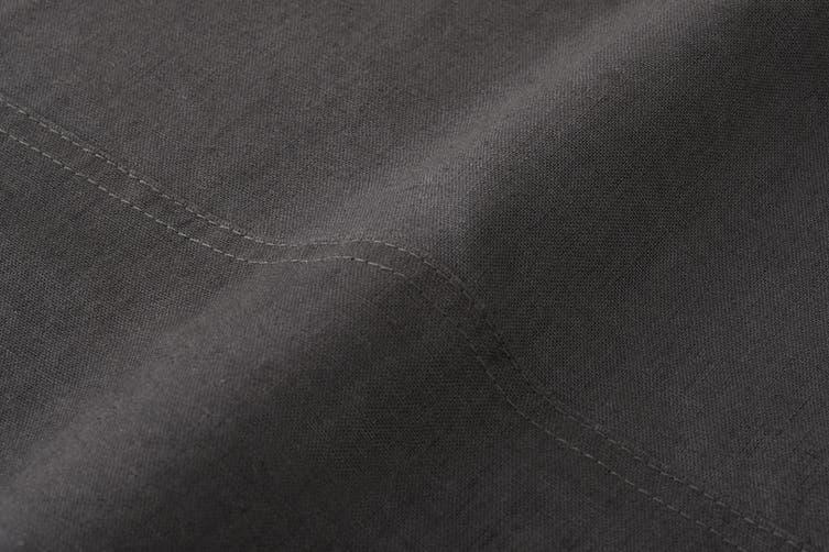 Trafalgar Belgian Linen Cotton Bed Sheet Set (Double, Charcoal)