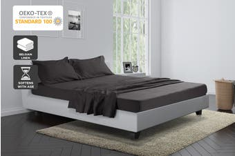 Trafalgar Belgian Linen Cotton Bed Sheet Set (Charcoal)