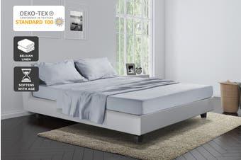 Trafalgar Belgian Linen Cotton Bed Sheet Set (Pale Grey)