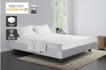 Trafalgar Belgian Linen Cotton Bed Sheet Set (Double, White)