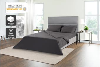 Trafalgar Belgian Linen Cotton Quilt Cover Set (Charcoal)