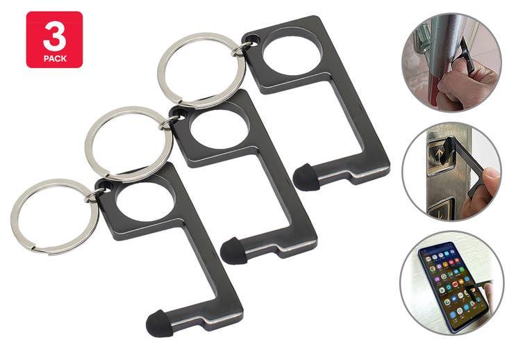 Certa Contact-Free Door Opener Keychain (Graphite, 3 Pack)