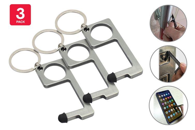 Certa Contact-Free Door Opener Keychain (Silver, 3 Pack)