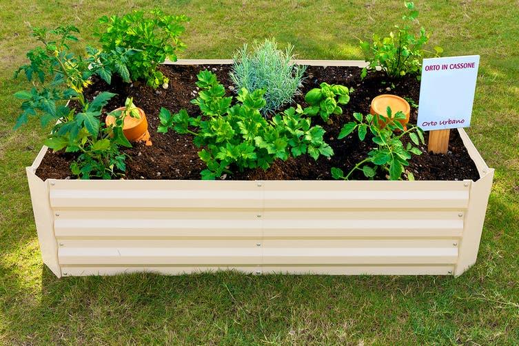 Dick Smith Certa Cream Powder Coated Raised Garden Bed Medium 120x90x30cm Garden Greenhouse