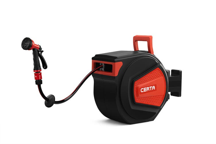 Certa 30m Retractable Garden Hose Reel with Spray Gun