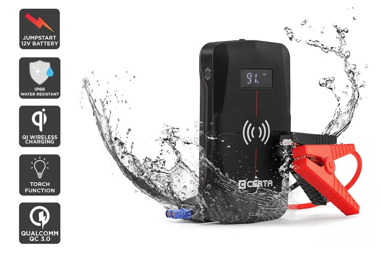 Certa 13,000mAh Water-Resistant Portable Jump Starter with Wireless Charger