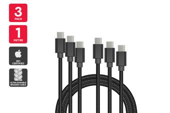 3 Pack USB Braided Type-C to Type-C Cable (Black, 1m)