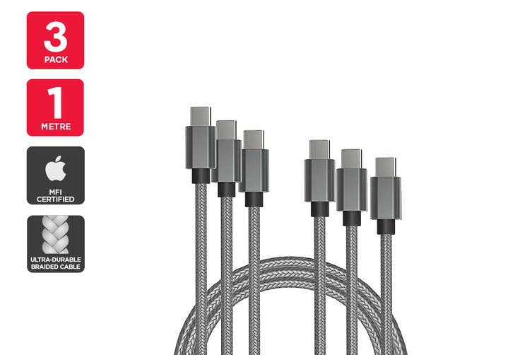 3 Pack USB Braided Type-C to Type-C Cable (Silver, 1m)