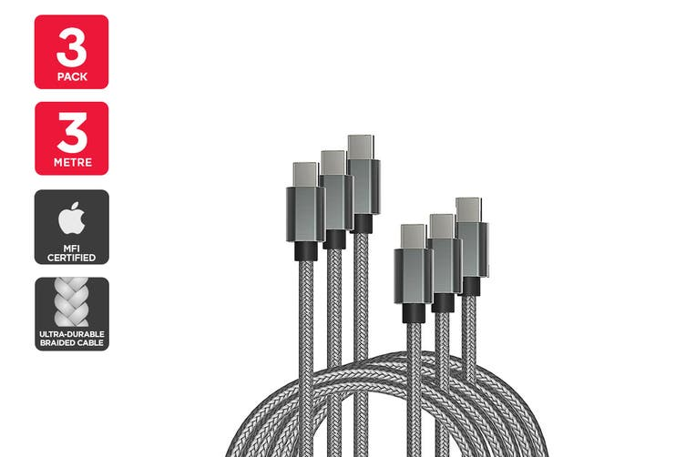 3 Pack USB Braided Type-C to Type-C Cable (Silver, 3m)