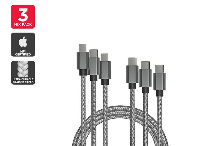 Mixed Pack USB Braided Type-C to Type-C Cable (Silver) (1m, 2m, 3m)