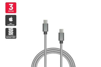 USB Braided Type-C to Type-C Cable (Silver, 3m)