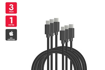 3 Pack USB Type-C to Type-C Cable (Black, 1m)