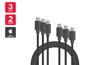 3 Pack USB Type-C to Type-C Cable (Black, 2m)