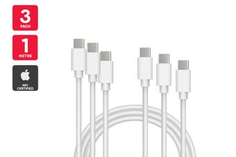 3 Pack USB Type-C to Type-C Cable (White, 1m)