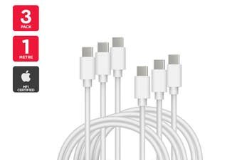 3 Pack USB Type-C to Type-C Cable (White, 3m)