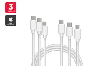 Mixed Pack USB Type-C to Type-C Cable (White) (1m, 2m, 3m)