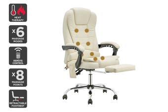 Ergolux Saratoga 8 Point Heated Vibrating Massage Office Chair (White)